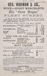 Advert For Geo. Warman & Co., Wine & Spirit Merchants
